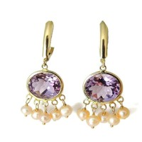 Amethyst 14k Gold Pearl Dangle Earrings 8 CARATS !