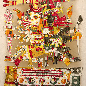 Aztec Art Print Ancient Gods Life And Death