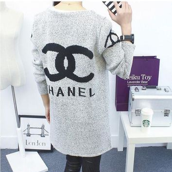 Chanel Fashion Casual Hooded Sweater Knit Cardigan Jacket Coat G