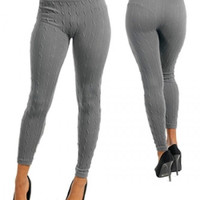 Sexy Dark Gray Stretch Sweater Cable Knit Winter Tights Fashion Trendy Leggings