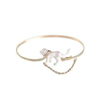 Gold Plated 'Captive Lion Angle' Bangle
