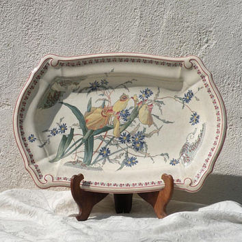 RARE Large French antique ironstone serving platter, floral ironstone, French country home, antique ironstone, E Bourgeois, French ironstone
