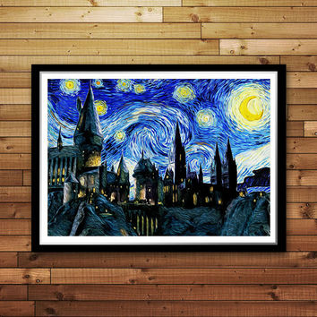 Hogwarts Starry Night, Reproduction of Vincent Van Gogh Starry Night, Hogwarts Art Print, Harry Potter print, Hogwarts Castle Print Canvas