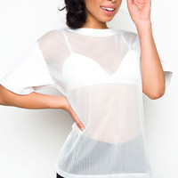 Bad Habits Mesh Top - White