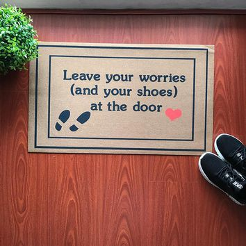 Autumn Fall welcome door mat doormat  Entrance Floor Mat Funny  Leave Your Worries And Your Shoes Take Remove Off Your Shoes Outdoor Rubber  AT_76_7