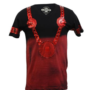 Rawyalty Couture Men's Red Couture Chain 2Tone Red Studded T-Shirt