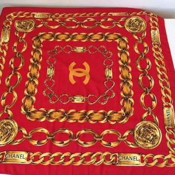 DCK4S2 Vintage CHANEL Silk Scarf PARIS 31 Rue Cambon Red with Gold Chains (LI10)