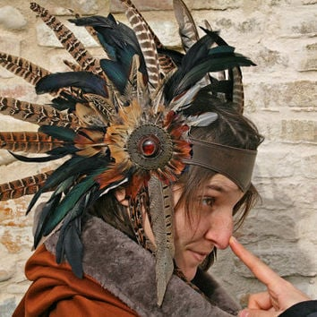 MADE TO ORDER - headpiece tribal feather iridescent Fantasy Pagan wiccan renaissance larp shaman costume headpiece