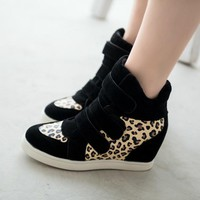Winter Shoes Leopard Suede Ankle Boots Heels Platform Wedge Sneakers