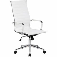 2xhome White Executive Ergonomic High Back Modern Office Chair Ribbed PU Leather Swivel for Manager Conference Computer Desk | Overstock.com Shopping - The Best Deals on Executive Chairs