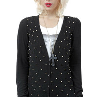 Black Cardigan with Gold Beads