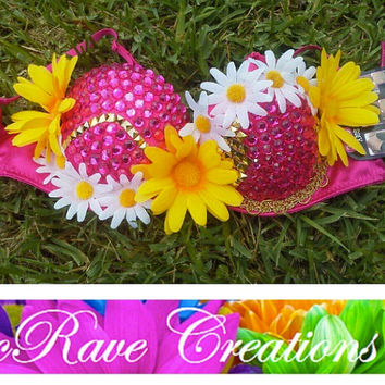 Hot Pink Blingy Bra with Yellow and White Daisies with Gold Stud Accents