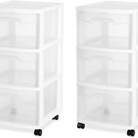 3 Drawer Plastic Rolling Cart Storage Box Sterilite Organizer Cabinet W Set of 2