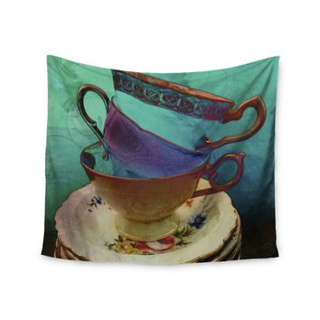 "alyZen Moonshadow ""Mad Hatters T-Party I"" Turquoise Wall Tapestry"