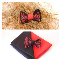 Embroidered black red men's bow tie pretied bow tie Groomsman bow tie men bowties women bowties Unisex Vintage bowtie FREE SHIPPING