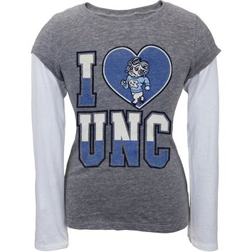 N. Carolina Tar Heels - Glitter I Heart Girls Youth Soft 2fer