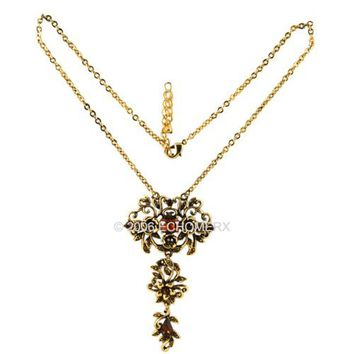 Victorian Necklace Flower Brown Crystals Antique Gold Tone NICKEL FREE