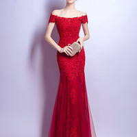 Red Bardot Neck Embroidery Fishtail Maxi Prom Dress