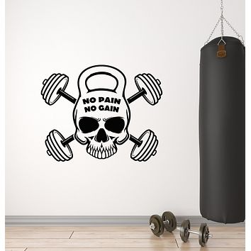 Vinyl Wall Decal Skull Barbell Iron Sports Fitness Gym Stickers Mural (g3085)