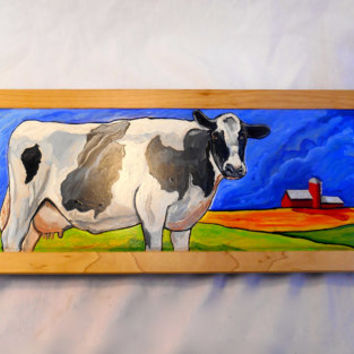 Holstein Cow Oil Painting on wood, Cow Oil Painting with relief carvings, Framed Barnyard Oil Painting, Red Barn Painting