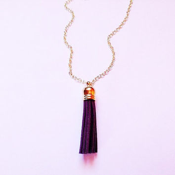 SMALL Tassel necklace, purple tassel necklace, tassel jewelry, colorful jewelry, purple necklace, layering necklace, statement necklace