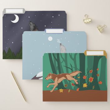 Seasonal Wolves File Folder