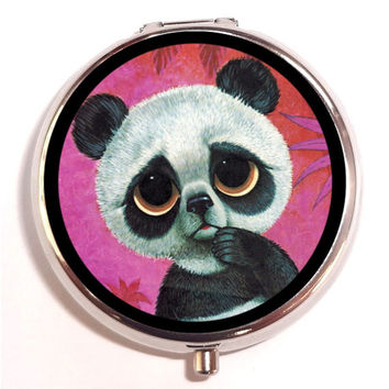 Big Eyed Panda Bear Big Eye Sad Eye Pill Box Pillbox Case Trinket Box Vitamin Holder