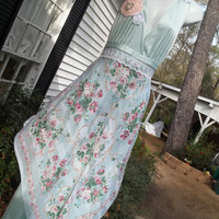 Upcycled Slip Dress Maxi Floral Scarf Wedding by Annierosevintage