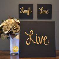 Live Laugh Love Canvas Wall Art Paintings 3 Piece Value Pack Wall Hangings Black & Gold Modern Chic Cozy Living Room Wall Decor Home Decor
