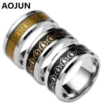 2017 Fashion World of Warcraft Fight for The Horde Stainless Steel Ring Men WOW Lion Head  Male  Ring Jewelry Lord of The Rings