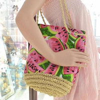 Fresh Fruit Watermelon Printing Tote Women Bucket Bag Canvas Shoulder Bag Straw Beach Bag Woven Hand bags