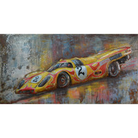 The Urban Port Fairy Yellow Red Number 2 Sport Car Wall Decor in Iron