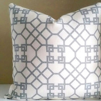 Kravet Designer Pillow Cover, Lattice Pattern Pillow, 18x18