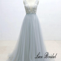 Ivory Lace Wedding Dress with Silver Thread Binding Dusty Blue Airy Tulle Wedding Dress with Deep V Neckline