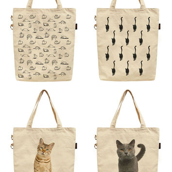 Women Cats Design Printed Canvas Tote Shoulder Bag WAS_40