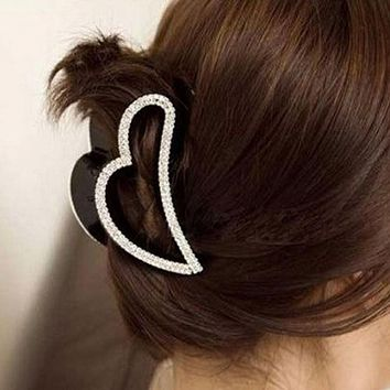 Lady Girls Bling-Bling Heart Shape Crystal Rhinestone Claw Hair Clip Hairpin Hairwear Clamp Hair Accessories