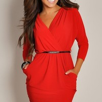 Bright Red Long-Sleeve Belted with Pockets V-Neck Wrap Dress