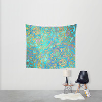 Sapphire & Jade Stained Glass Mandalas Wall Tapestry by Micklyn