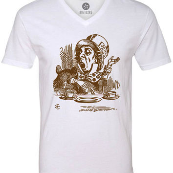 Alice in Wonderland - Mad Hatter Engaging (Brown) Short-Sleeve V-Neck T-Shirt