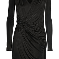 Versace - Wrap-effect satin-jersey dress