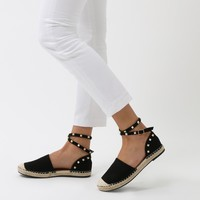 Malawi Studded Espadrilles in Black Faux Suede