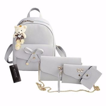 4Pcs/Set PU Leather  Cute Bow School Bags Backpack, Chains Shoulder Bag Purse Sac A Dos