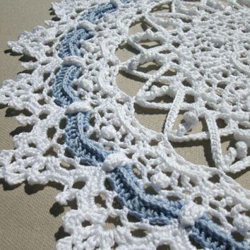 Lace crochet doily 13,5 inches Crochet round doily White crochet doily Blue crochet doily White lace doily Crochet napkin White napkin