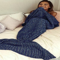 SuperSoft HandMade Yarn Knitted Mermaid Tail Blanket For Women And Kids