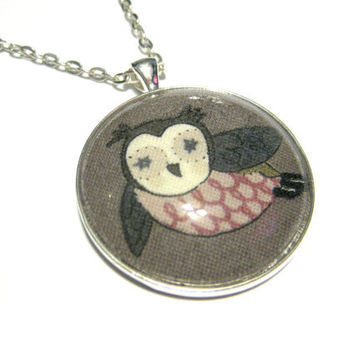 Gray Owl Pendant, Grey Owl Necklace, Silver Plated Necklace, Women's Jewelry, Glass Cabochon