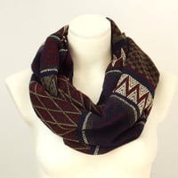 Velvet Woven Aztec Pattern Infinity  Scarf Tribal Zigzag Geometric Pattern, Red Dark Blue Olive Beige Colors