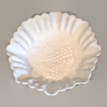 Antique Imperial Milk Glass Bowl, Grape Design Fruit Bowl with Fluted Edge Mid Century Decor