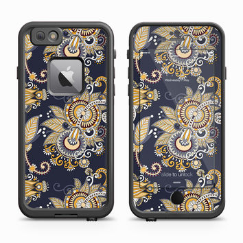Gold and Navy Blue Floral Design Skin for the Apple iPhone LifeProof Fre Case
