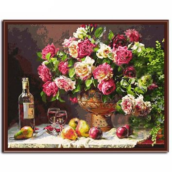 Abstract Roses DIY Canvas Oil Painting by numbers Kit - DIY Art Home Decor