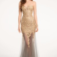 Lace Mesh Dress with Metallic Appliques